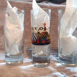 Stoli and 2 clear tall shot glasses